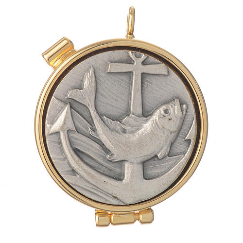Mini pyx in enamelled brass with fish symbol 1