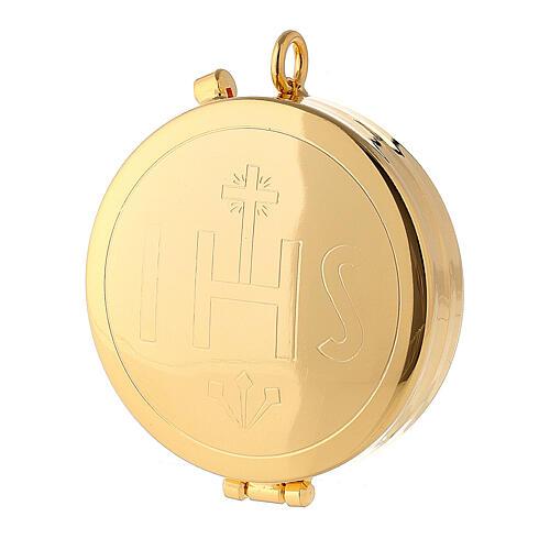 Caixa hóstias latão dourado IHS 1