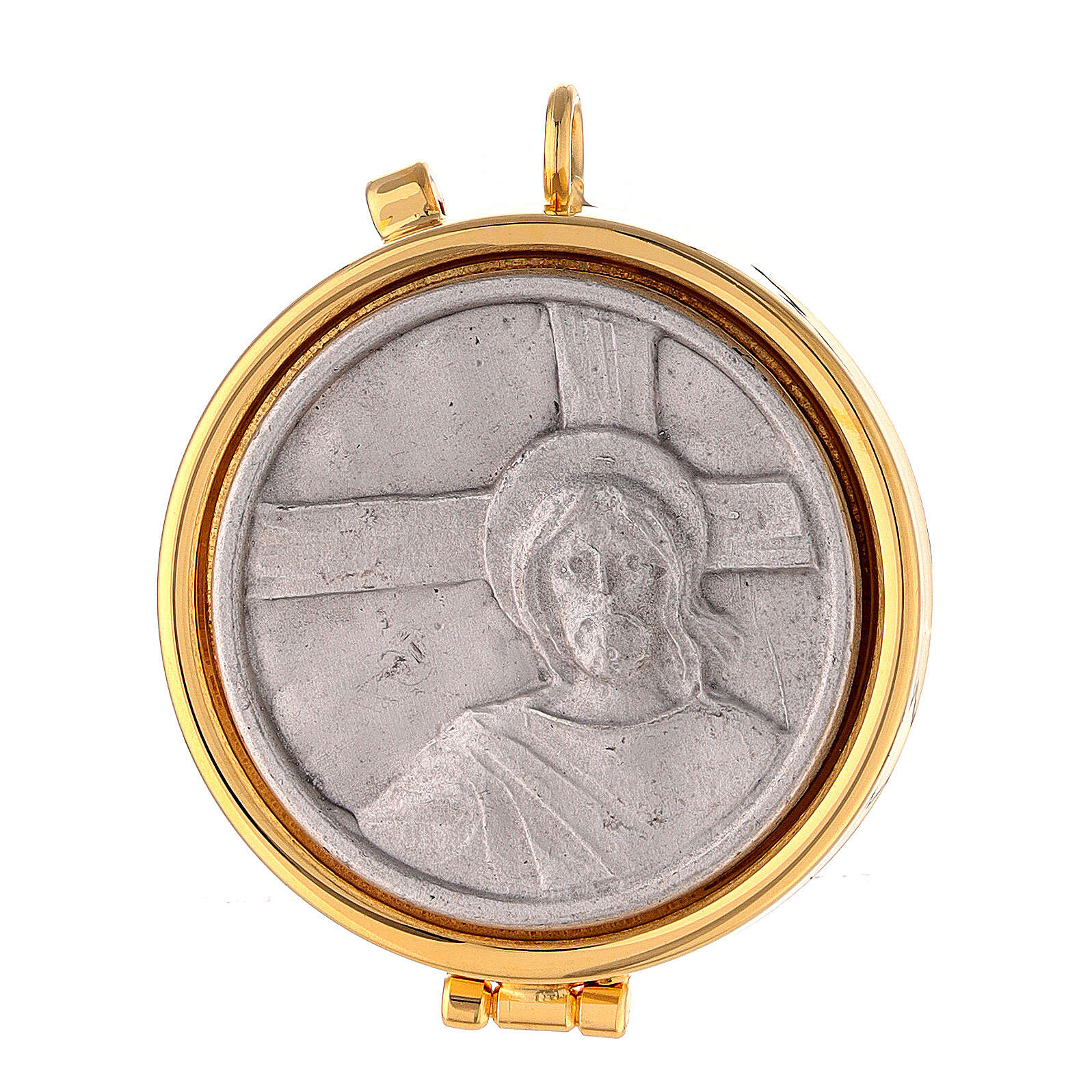 Pyx with Jesus and cross plate in pewter 3