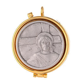 Pyx with Jesus and cross plate in pewter s1