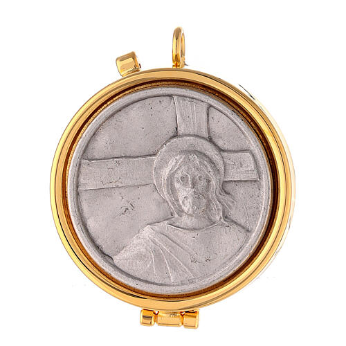Pyx with Jesus and cross plate in pewter 1