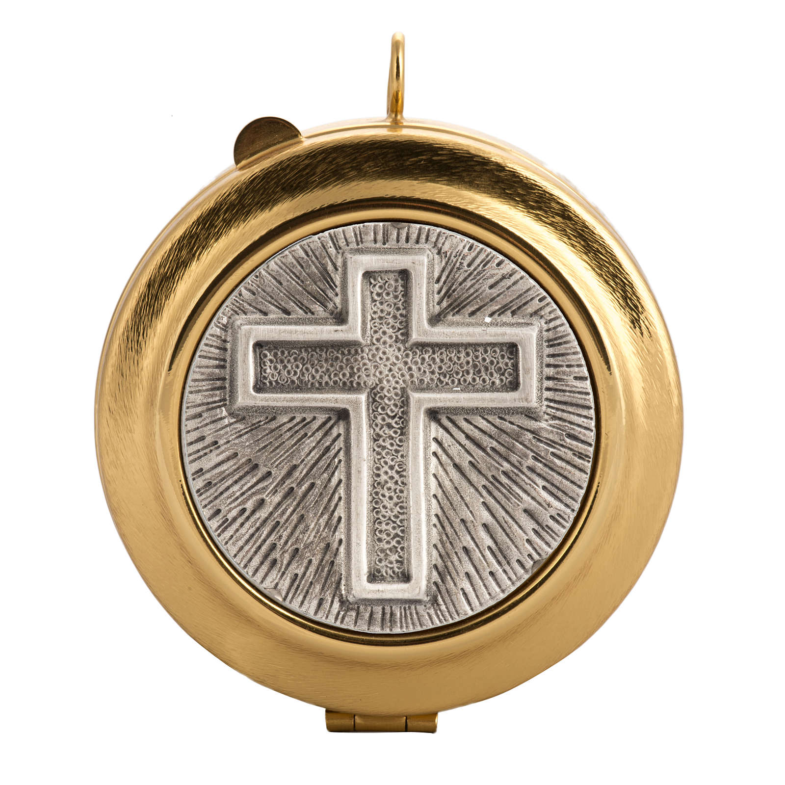 Pyx with cross decoration in knurled brass 3