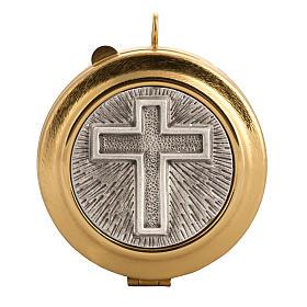 Teca eucaristica ottone zigrinato placca croce varie misure s1