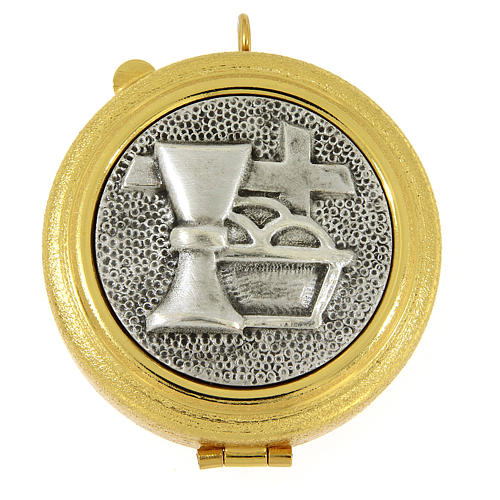 Pyx with cross and Eucharistic symbols in knurled brass 1