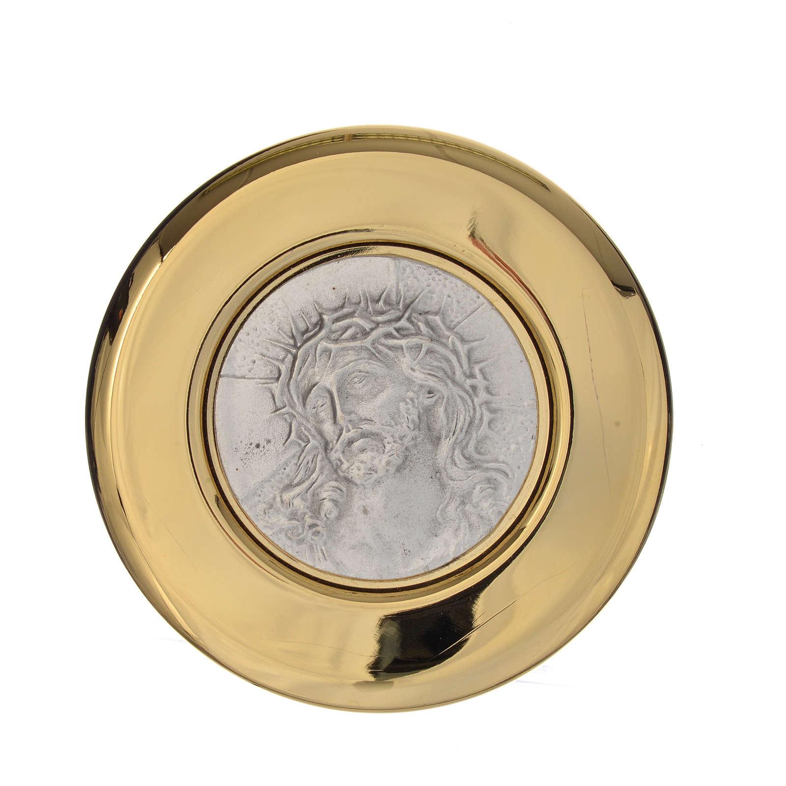 Teca ottone rilievo peltro Ecce Homo diam. 8 cm 3