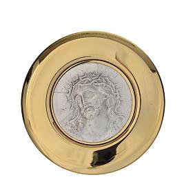 Teca ottone rilievo peltro Ecce Homo diam. 8 cm s3