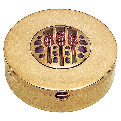 Caja para hostia en Latón dorado pepitas uca y espiga Molina diam.9 cm.