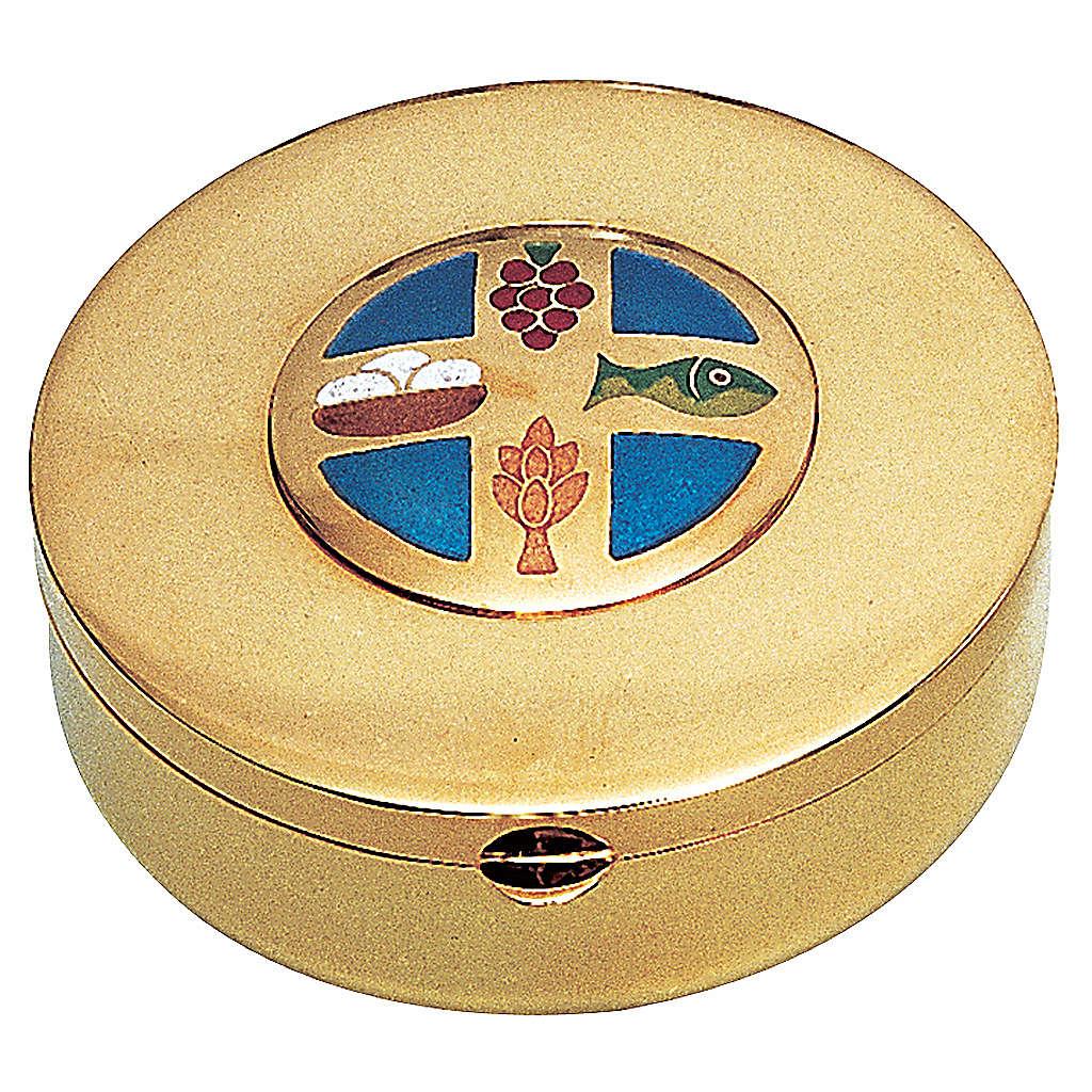 Caja hostia en Latón dorado pan y uva espiga pez Molina Diam.9 cm 3