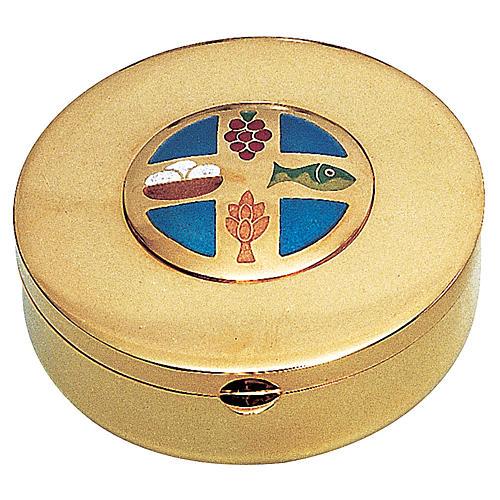 Caja hostia en Latón dorado pan y uva espiga pez Molina Diam.9 cm 1