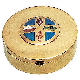 Teca ostie in ottone dorato pani uva spiga pesce Molina diam. 9 cm s1