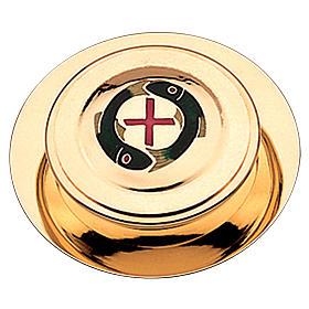 Caja para hostia latón dorado con 2 pezes y cruz roja Molina diam,10.5 cm s1