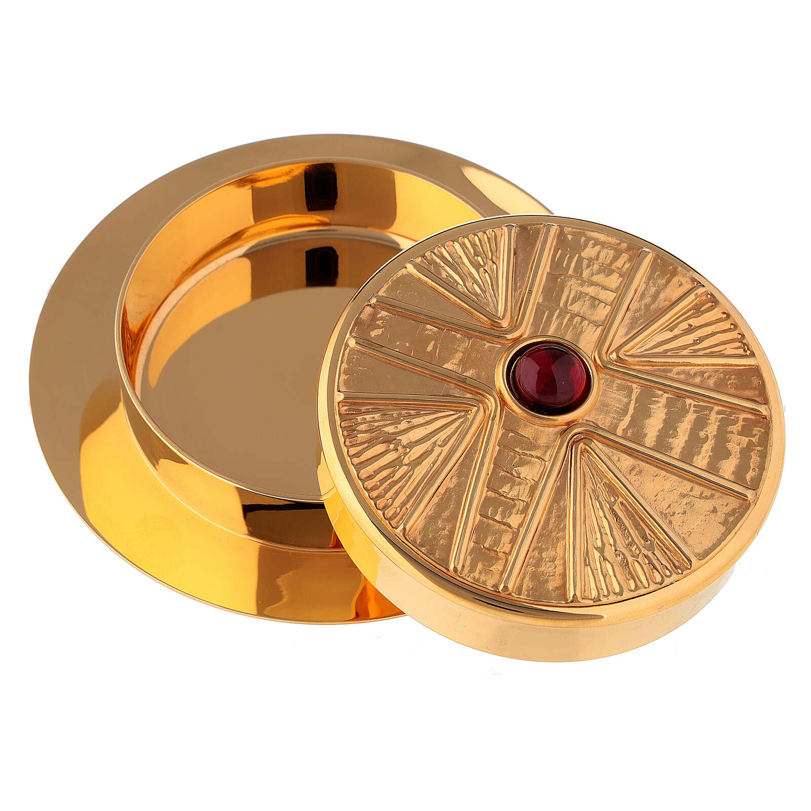 Pyx for hosts in golden brass with stone 10.5cm Molina 3