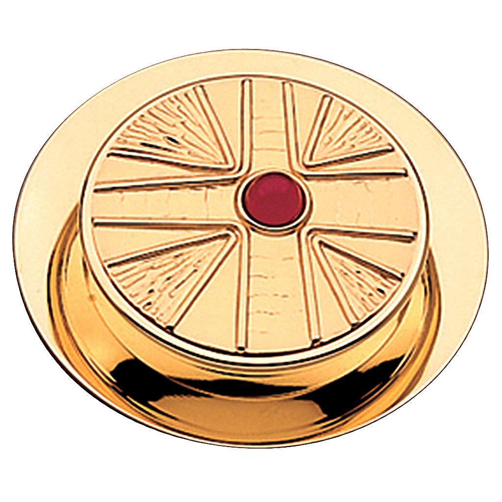 Teca per ostia finitura dorata con pietra Molina diam. 10,5 cm 3