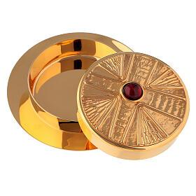 Teca per ostia finitura dorata con pietra Molina diam. 10,5 cm s2