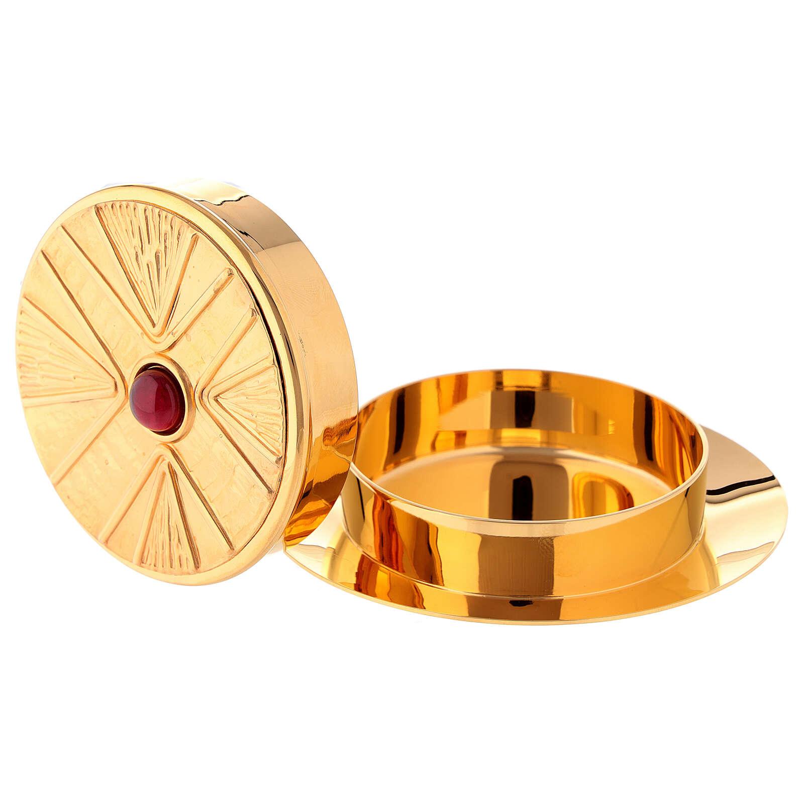 Caixa para hóstias acabamento dourado com pedra Molina diâm. 10,5 cm 3