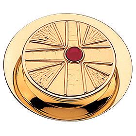 Caixa para hóstias acabamento dourado com pedra Molina diâm. 10,5 cm s1