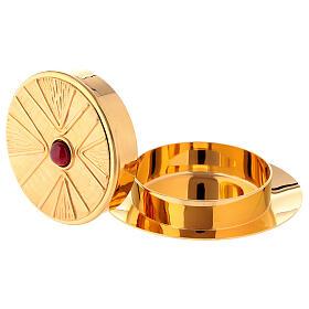 Caixa para hóstias acabamento dourado com pedra Molina diâm. 10,5 cm s3