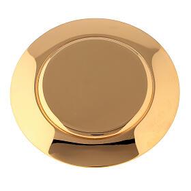 Caixa para hóstias acabamento dourado com pedra Molina diâm. 10,5 cm s5