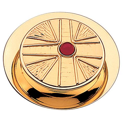 Caixa para hóstias acabamento dourado com pedra Molina diâm. 10,5 cm 1