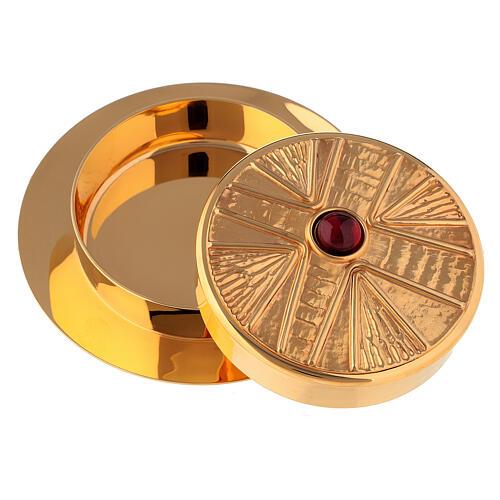 Caixa para hóstias acabamento dourado com pedra Molina diâm. 10,5 cm 2