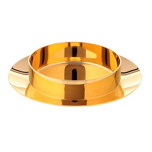 Caixa para hóstias acabamento dourado com pedra Molina diâm. 10,5 cm 4