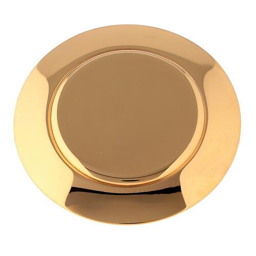 Caixa para hóstias acabamento dourado com pedra Molina diâm. 10,5 cm 5