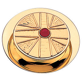 Pyx for hosts in golden brass with stone 10.5cm Molina s1