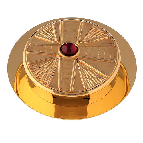 Pyx for hosts in golden brass with stone 10.5cm Molina 1