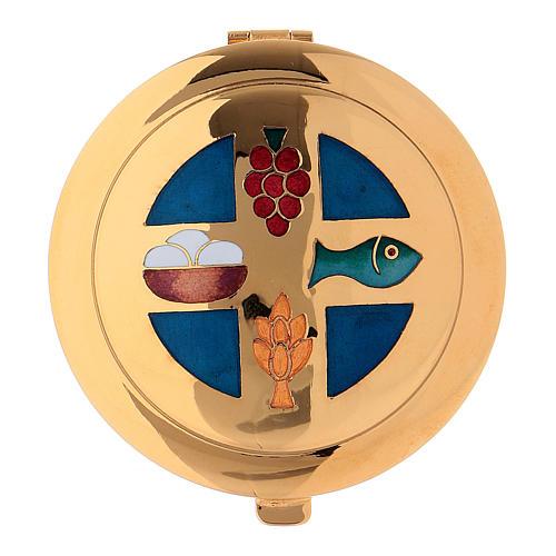 Caja para hostia dorado Molina esmalte azul y dibujos diam. 6 cm