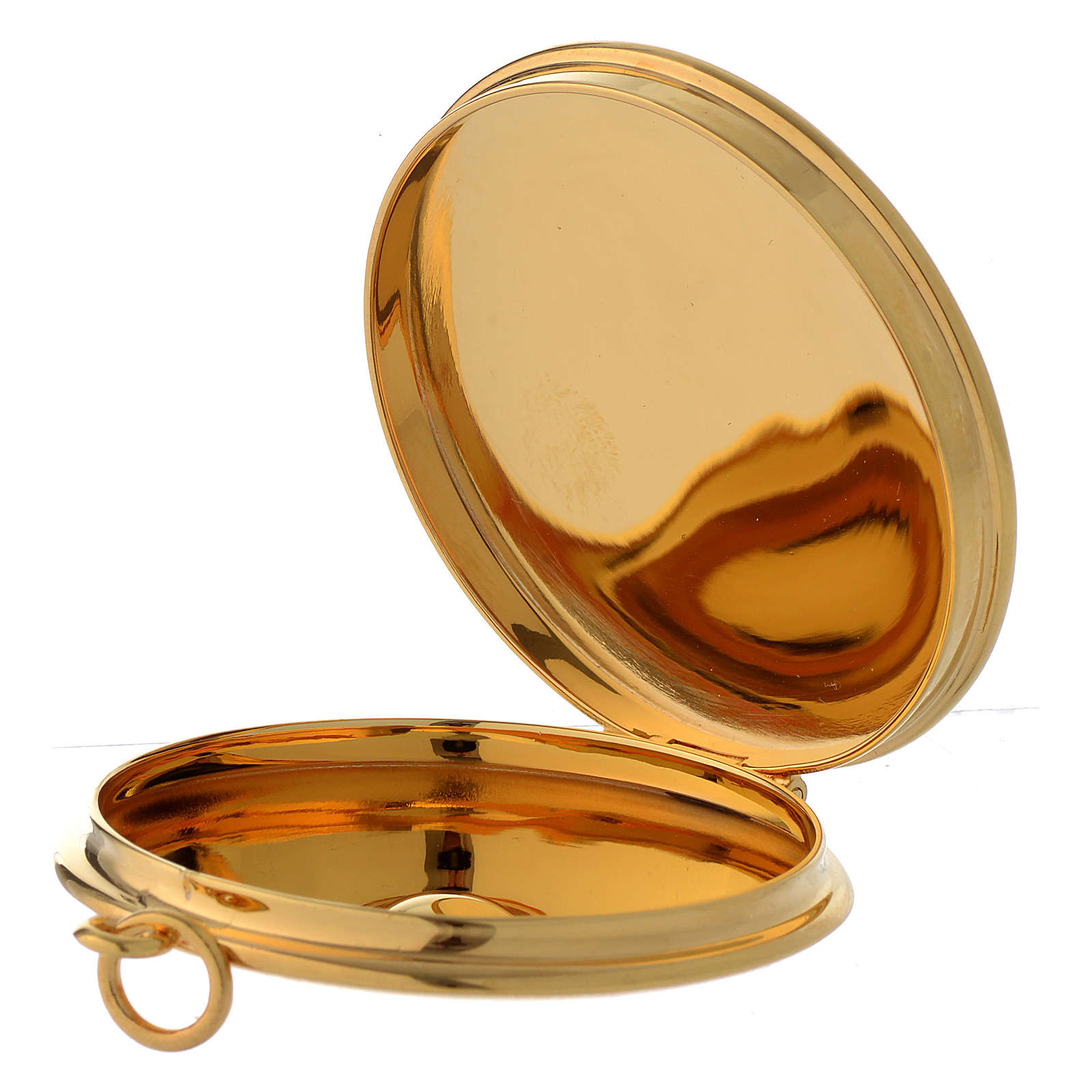Pyx for hosts in golden brass with hand engraved JHS symbol 5cm Molina 3
