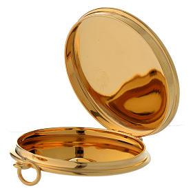 Teca per ostie ottone dorato incisione a mano JHS Molina diam. 5 cm s2