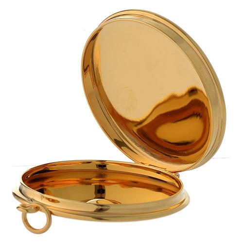 Teca per ostie ottone dorato incisione a mano JHS Molina diam. 5 cm 2