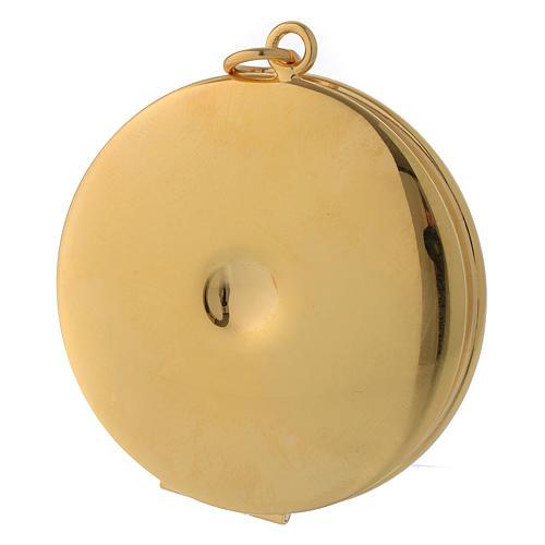 Caixa para hóstia latão dourado gravada à mão IHS Molina diâm. 5 cm 3