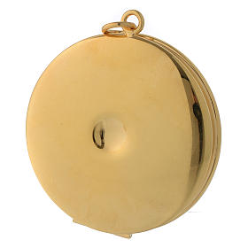 Pyx for hosts in golden brass with hand engraved JHS symbol 5cm Molina s3