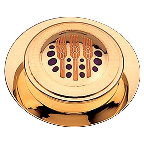 Caja moderna para hostias, con acabado dorado y esmalte