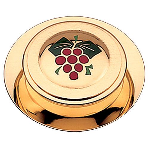 Caja para hostia y terminado dorado esmalte uva Molina 10.5 cm