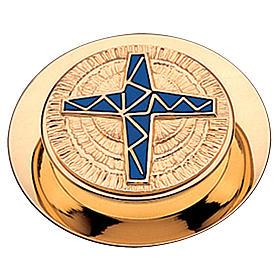 Caja  para hostias Molina acabado dorado cruz esmalte azul 10.5 cm s1