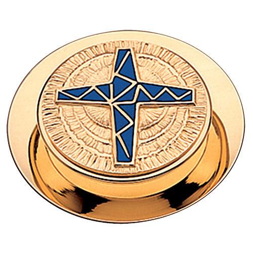 Caja  para hostias Molina acabado dorado cruz esmalte azul 10.5 cm 1