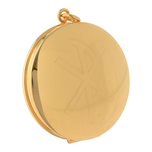 Pyx for hosts in golden brass with hand engraved PAX symbol Molina 1