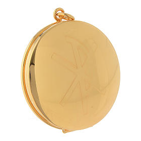 Pyx for hosts in golden brass with hand engraved PAX symbol Molina s1