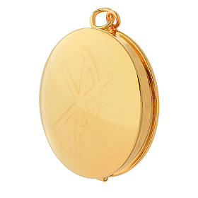 Pyx for hosts in golden brass with hand engraved PAX symbol Molina s2