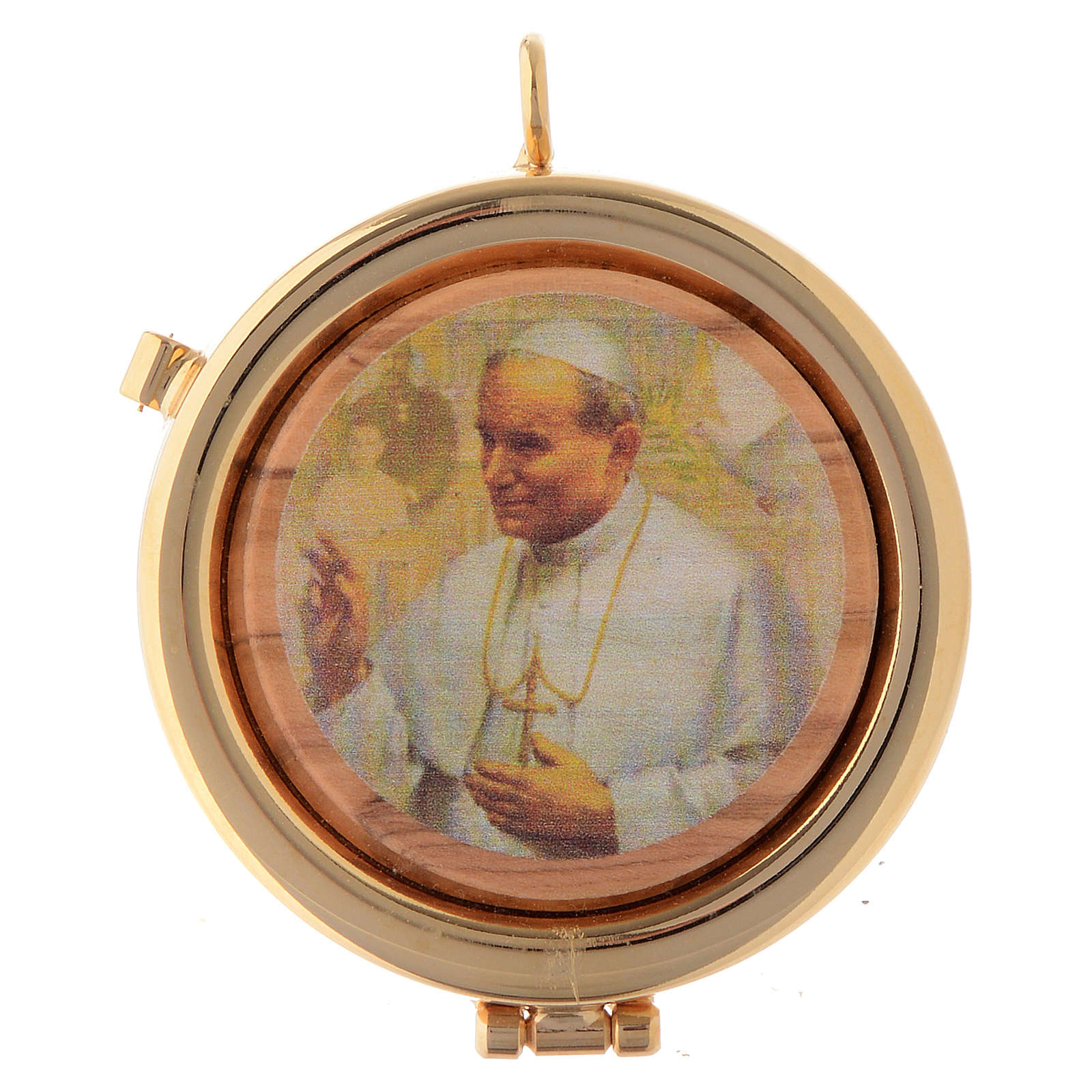 Teca placca ulivo papa Giovanni Paolo II diam. 6 cm 3