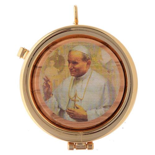 Teca placca ulivo papa Giovanni Paolo II diam. 6 cm 1