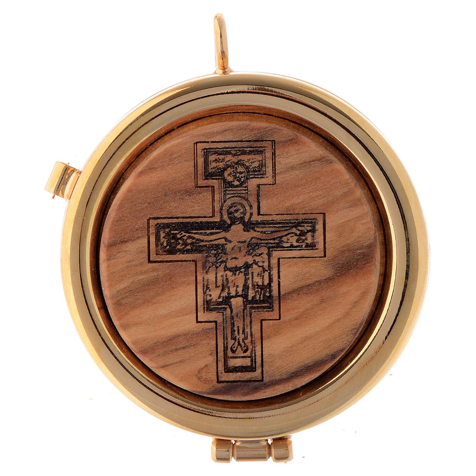 Teca placca ulivo Crocifisso San Damiano diam. 6 cm 3