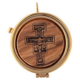 Teca placca ulivo Crocifisso San Damiano diam. 6 cm s1