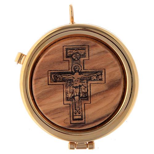 Teca placca ulivo Crocifisso San Damiano diam. 6 cm 1
