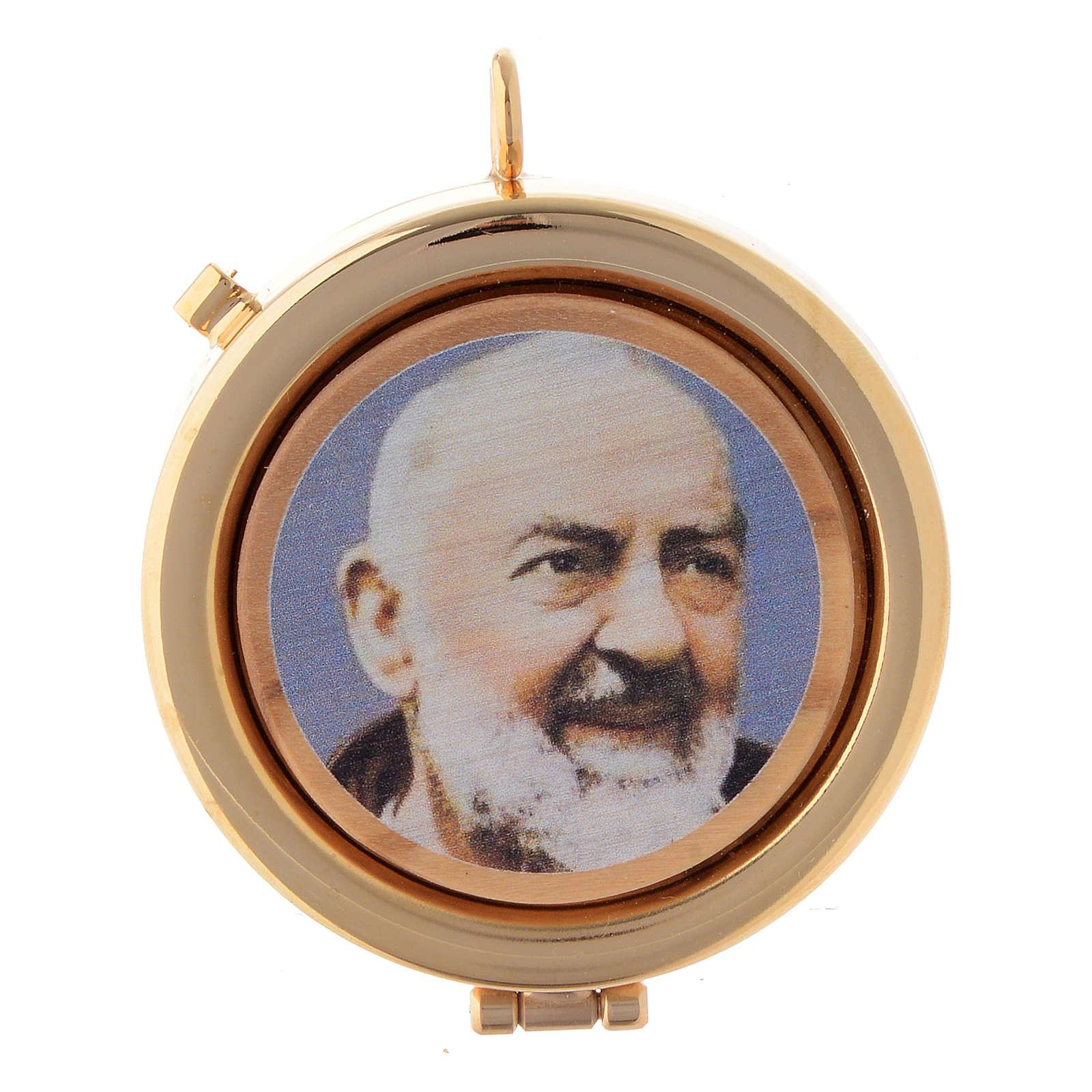 Teca placca ulivo Padre Pio diam. 6 cm 3