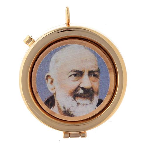 Teca placca ulivo Padre Pio diam. 6 cm 1
