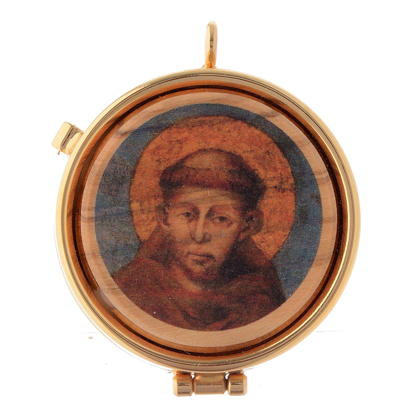 Porta-viático madera olivo San Francisco de Asís diámetro 5 cm 3