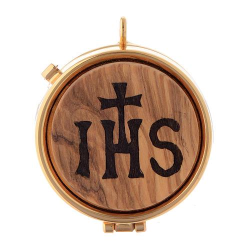 Teca placca olivo simbolo IHS diam. 5 cm 1